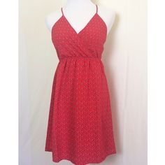Sweet red backless dress Backless red dress with little blue leaf print. Adjustable straps. Fully lined. Like new. Everly Dresses