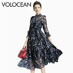 [ 21% OFF ] Volocean 2017 Vintage Silk Maxi Summer Dress For Women Sweet Ball Gown Flower Print Dresses Women Slim Female Dress
