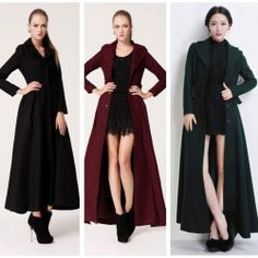 Women Turn-down Collar Slim Fit Wool Coat Long Sleeve Big Swing Long Overcoat