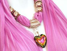 Pendant Scarves Jewelry Scarves With Pendants Fuchsia Scarf Silver Scarf Jewels. $26.00, via Etsy.