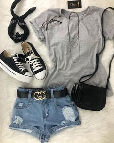 Shorts (Newlook), Grey T-Shirt (Have), Black Trainers (Have) Cute Summer Outfits, Cute Casual Outfits, Pretty Outfits, Stylish Outfits, Teen Fashion Outfits, Cute Fashion, Outfits For Teens, Girl Outfits, Vetement Fashion