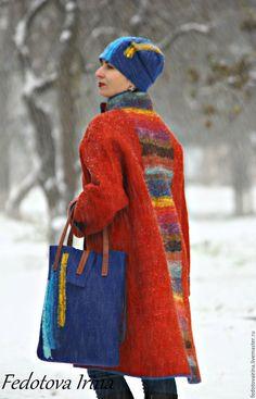 """Купить Авторское валяное пальто """"Калейдоскоп - 2"""".По мотивам. - рыжий, однотонный, терракотовый, цветной"""