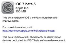iOS 7 beta 5 full changelog lists software updates