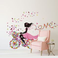 DIY Wall Stickers PVC large wall sticker; Pink girl butterfly bedroom wall stickers home decor removable background wallpaper