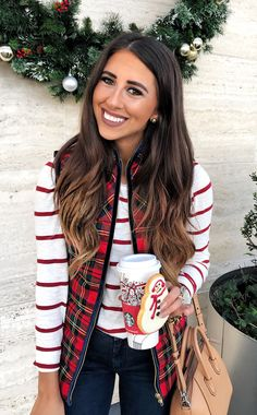 #winter #outfits woman's red and green plaid vest