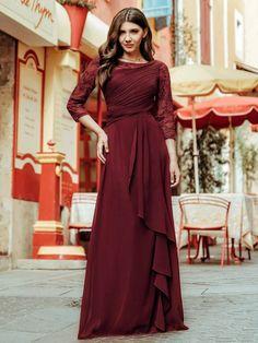 Ever-Pretty Chiffon Elegant Formal Long Sleeve Prom Bridesmaid Dresses 08861