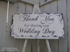 VINTAGE THANK YOU Sign Wedding Sign Cottage by MyPrimitiveBoutique, $35.00