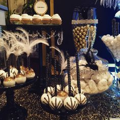 Great Gatsby Wedding Dessert/Candy Buffet Table by Bizzie Bee Creations #greatgatsbywedding #greatgatsby #candybuffet #cakepops