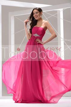 ストラップレスエンパイアラインスシフォンイブニングドレス