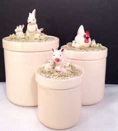 Fitz and Floyd      Farm Animals Canister Set 1982