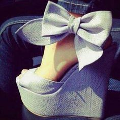 Bow peep toe wedges