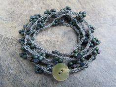 Crotchet 6 Strand Bracelet by DoveDesignsJewelry on Etsy, $30.00