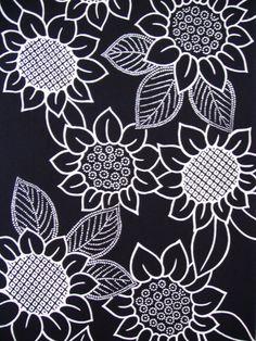 40 long...Indigo sunflower Vintage Japanese by CosimaOrimono