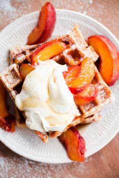 Belgian Buttermilk Waffles with Roasted Peaches and Vanilla Mascarpone. The ultimate waffle recipe to highlight the best of summer peaches! @BlogOverThyme