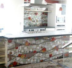 Orange County House of Design - Mosaic Backsplash and Bar Front