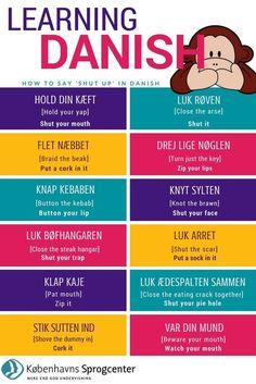 Hold mund / shut up Danish Words, Speak Danish, Danish Language, Coding Languages, Town Names, Viking Life, Language Study, English Lessons, Idioms