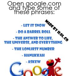 Cool Google tricks ... I tried the 1st one— it works and it made me extremely happy