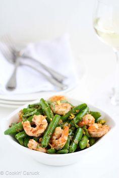 Sautéed Shrimp, Snap Peas & Pistachios with Basil Recipe #recipe #healthy by Cookin' Canuck