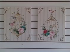 quadros gaiolinhas Bird Cages, Shabby Chic Decor, Art Decor, Home Decor, Stencils, Diy And Crafts, Hand Painted, Collage, Canvas