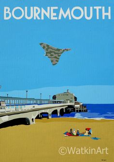 Bournemouth pier with Vulcan Bomber, original painting and prints by Richard Watkin. www.watkinart.co.uk