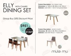 The Elly table is crafted from solid oak wood has a 12mm thick tempered glass top. The Skiosko Chair is made from solid ash wood and can be finished in your choice of fabric or PU.  http://www.mulamu.com/product/elly-dining-set/  #Singapore