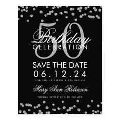 #Silver Black 50th Birthday Save Date Confetti Card - #birthdayinvitation #birthday #party #invitation #cool #invitations