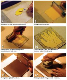 This is about how to make linoleum prints to put glaze on clay slabs, but I'd use them to texture my clay instead/as well  --wandless4