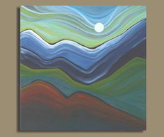 abstract painting of HILL COUNTRY landscape, mountain landscape painting, abstract landscape (16x16) on Etsy, $149.00