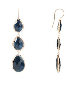 Beautiful white gold diamond sapphire drop earrings by Selini