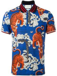 GUCCI Bengal print polo shirt.  gucci  cloth  shirt Blue Polo Shirts 16ac1175fc6d0