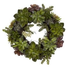 """Nearly Natural 20"""" Succulent Wreath"""