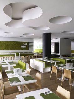 Modern Fast Food Restaurant Interior Decor with Minimalist Furniture Design - Ikrunk.Com
