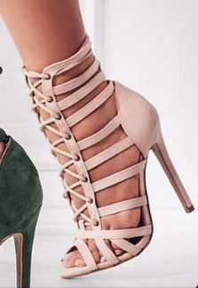 Cage Lace Up Single Sole Heels