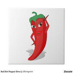 Sold! Red Hot Pepper Diva Ceramic Tile (Jul. 2) #cartoon #cute #Spicy