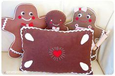 Nähen für Weihnachten: Lebkuchenkissen - gratis Anleitung - und Lebkuchenmann mit Familie   binenstich.de