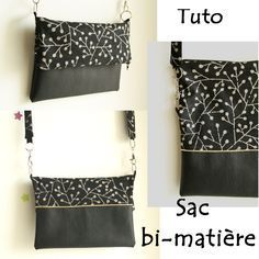 Le sac bi-matière (tuto) – Frénésie et moi Sewing Hacks, Sewing Tutorials, Sewing Patterns, Sewing Tips, Diy Bags Purses, Couture Sewing, Sewing Projects For Beginners, Fabric, How To Make