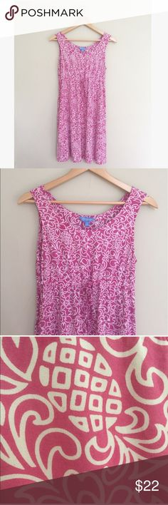 """Hawaiian Pineapple Print Sun Dress Adorable, soft rayon dress by Blue Ginger with waist tie and pockets. White floral pineapple print on pink. Designed on Maui! 35"""" long, 17"""" pit to pit. No trades, offers welcome! Blue Ginger Dresses"""