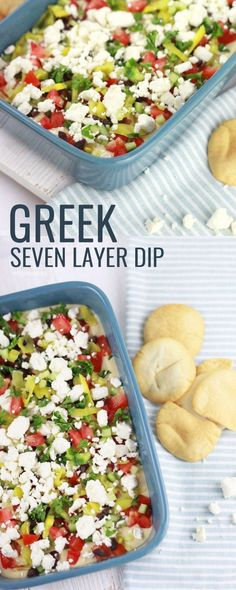This hummus dip or greek seven layer dip is healthy, fresh and SO delicious!