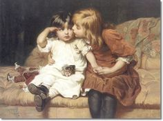 Frederick Morgan - British - The Consolation Two Girls with Broken Doll Victorian Art
