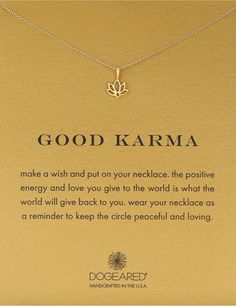 Good Karma Lotus Necklace. Brings positive energy. Necklace with meaningful message. #inspiration #lifestyle