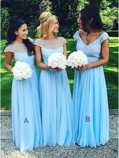Long Blue Beaded Chiffon Floor-Length Wedding Party Dresses Bridesmaid Dresses 99601063