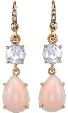 Irene Neuwirth Pink Opal & Diamond Drop Earrings