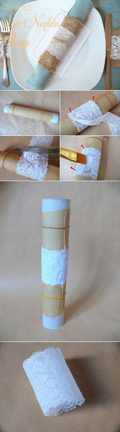 DIY Lace Napkin Ring from http://www.polkadotbride.com/2013/02/diy-lace-napkin-rings-tutorial/ ~Find the supplies at Afloral.com