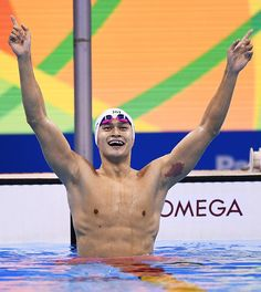 #TOPSHOT China's Sun Yang celebrates after he won the Men's 200m Freestyle Final during the swimming event at the Rio 2016 Olympic Games at the...