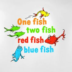 One Fish Two Fish Red Fish Blue Fish Dr Seuss Kids Wall Decal Peel and Stick #InnovativeStencils