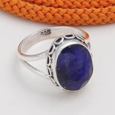DESIGNER 925 STERLING SILVER SAPPHIRE RING 4.53g DJR4558 #Handmade #Ring