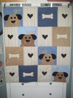 Give Your Dog a Bone Baby Quilt. $100.00, via Etsy.