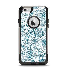 The Subtle Blue Sketched Lace Pattern V21 Apple iPhone 6 Otterbox Commuter Case Skin Set