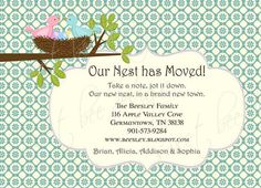 Moving Announcement Birds Nest by SweetBeeDesignShoppe