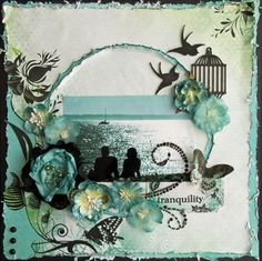 Scrapbooking - I really like how the birds and birdcage were incorporated!  #scrapbook #layout